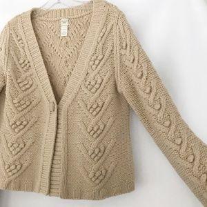 [Garnet Hill] Lambswool Oatmeal Cardigan Sweater